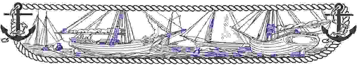 Illustration of boats in a styled navy frame
